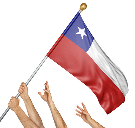 raising: Team of peoples hands raising the Chile national flag, 3D rendering isolated on white background Stock Photo