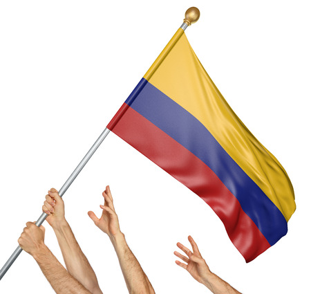 colombian: Team of peoples hands raising the Colombia national flag, 3D rendering isolated on white background
