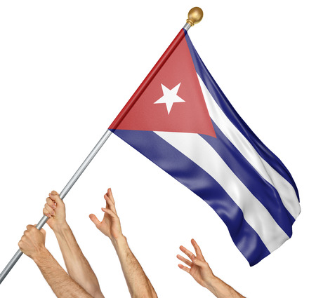 Equipo de manos de la gente izando la bandera nacional de Cuba, representación 3D aislada en el fondo blanco