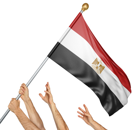 activism: Team of peoples hands raising the Egypt national flag, 3D rendering isolated on white background Stock Photo