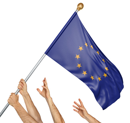 debates: Team of peoples hands raising the European Union flag, 3D rendering isolated on white background