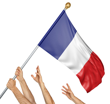 Team of peoples hands raising the France national flag, 3D rendering isolated on white background