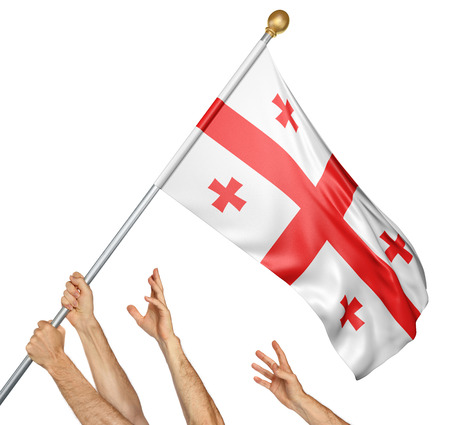 Team of peoples hands raising the Georgia national flag, 3D rendering isolated on white background