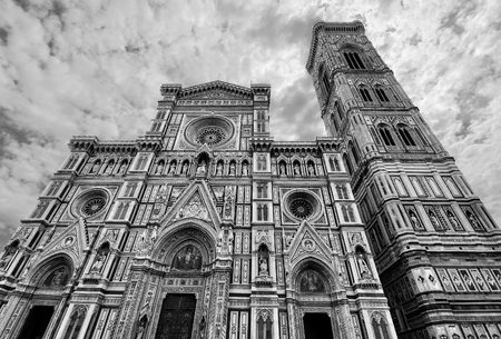 fiore: Gothic facade of the Florence cathedral Basilica di Santa Maria del Fiore in stunning black and white