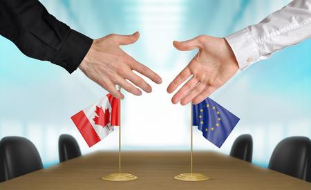 agree: Canadá y la Unión Europea diplomáticos están de acuerdo en darle la mano a trato, la presentación de elementos 3D