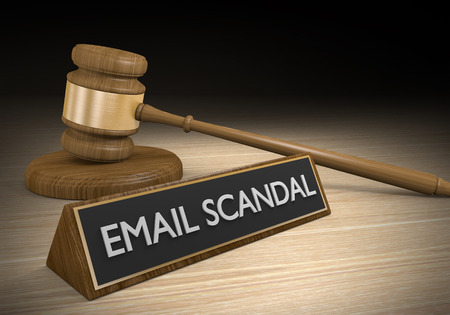 Court law concept for email scandals and leaked files, 3D rendering