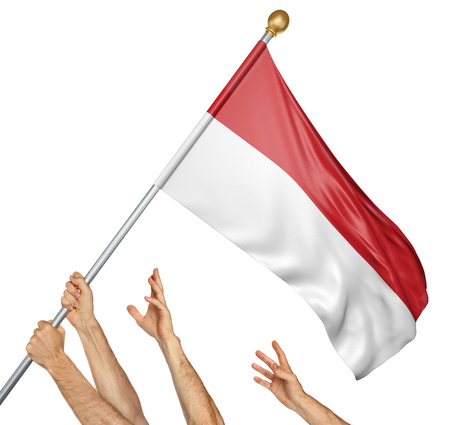 Team of peoples hands raising the Indonesia national flag, 3D rendering isolated on white background