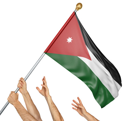 activism: Team of peoples hands raising the Jordan national flag, 3D rendering isolated on white background Stock Photo