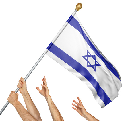 Team of peoples hands raising the Israel national flag, 3D rendering isolated on white background