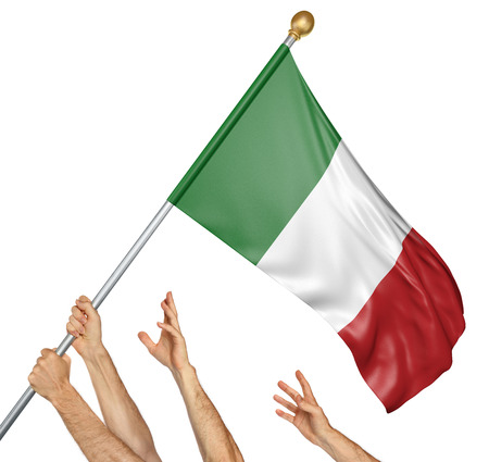 Team of peoples hands raising the Italy national flag, 3D rendering isolated on white background
