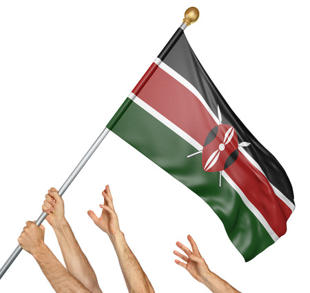 activism: Team of peoples hands raising the Kenya national flag, 3D rendering isolated on white background