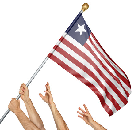 peoples: Team of peoples hands raising the Liberia national flag, 3D rendering isolated on white background Stock Photo