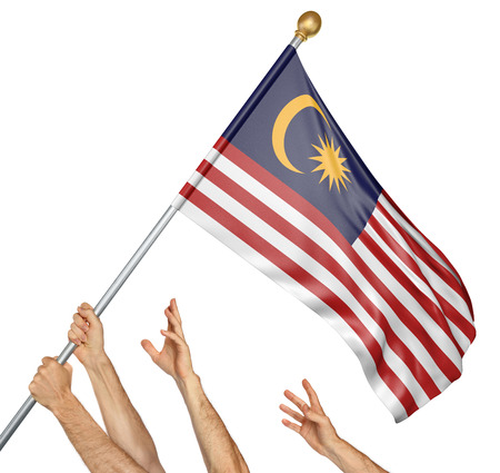 activism: Team of peoples hands raising the Malaysia national flag, 3D rendering isolated on white background