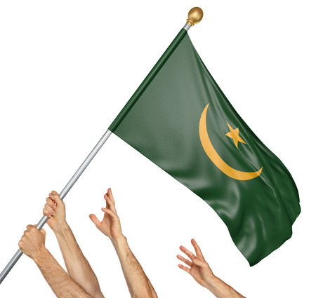 activism: Team of peoples hands raising the Mauritania national flag, 3D rendering isolated on white background Stock Photo