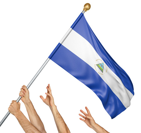 Team of peoples hands raising the Nicaragua national flag, 3D rendering isolated on white background