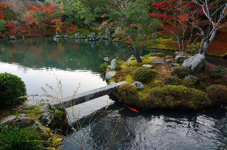 Small island and bridge in a peaceful garden pond in Japan during fall