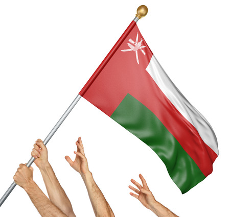 Team of peoples hands raising the Oman national flag, 3D rendering isolated on white background