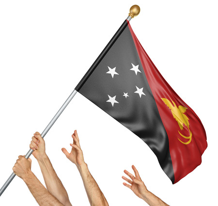 activism: Team of peoples hands raising the Papua New Guinea national flag, 3D rendering isolated on white background
