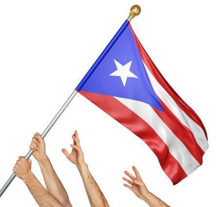 bandera de puerto rico: Equipo de manos de los pueblos levantando la bandera nacional de Puerto Rico, representación 3D aisladas sobre fondo blanco Foto de archivo