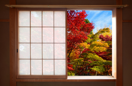 Forest of fall colors seen through an open Japanese sliding window in autumn Stock Photo