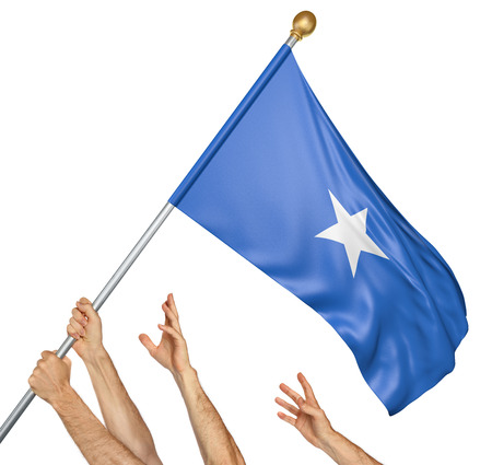 somalian: Team of peoples hands raising the Somalia national flag, 3D rendering isolated on white background Stock Photo