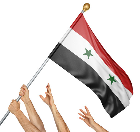 Team of peoples hands raising the Syria national flag, 3D rendering isolated on white background