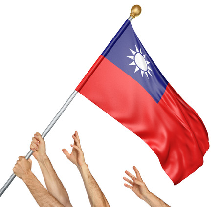 activism: Team of peoples hands raising the Taiwan national flag, 3D rendering isolated on white background