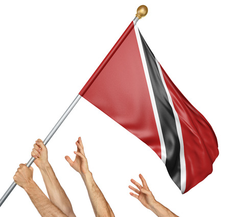 Team of peoples hands raising the Trinidad and Tobago national flag, 3D rendering isolated on white background