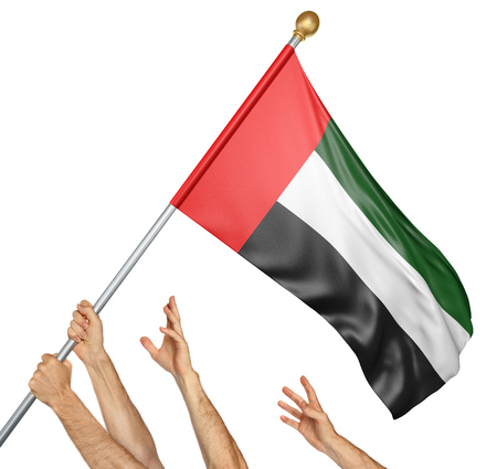 Team of peoples hands raising the United Arab Emirates national flag, 3D rendering isolated on white background