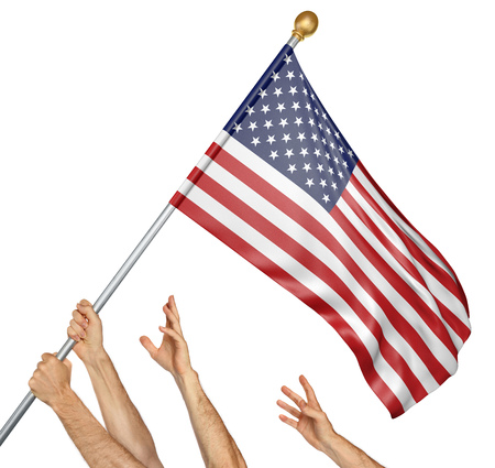 debating: Team of peoples hands raising the United States national flag, 3D rendering isolated on white background