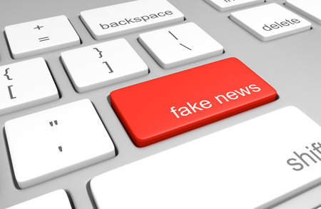 Computer key for accessing fake news websites that publish hoaxes and disinformation, 3D rendering