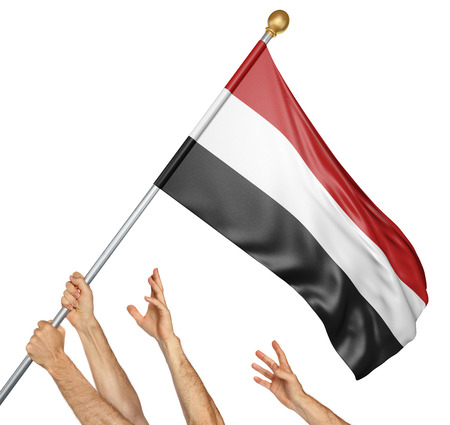 activism: Team of peoples hands raising the Yemen national flag, 3D rendering isolated on white background