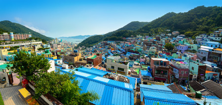 republic of korea: BUSAN, SOUTH KOREA - JUNE 19, 2016 - City panorama of the colorful and artistic Gamcheon Culture Village in Busan, South Korea