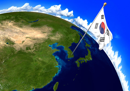 world flag: South Korea national flag marking the country location on world map. 3D rendering, parts of this image furnished by NASA