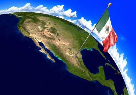 Mexico national flag marking the country location on world map. 3D rendering, parts of this image furnished by NASA