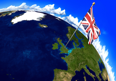britain: United Kingdom national flag marking the country location on world map. 3D rendering, parts of this image furnished by NASA