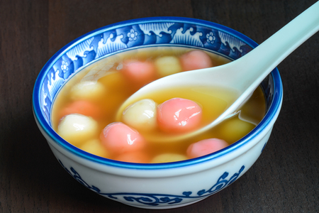 Taiwanese homemade tangyuan dessert, served for special Chinese holidays