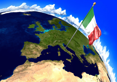 world flag: Italy national flag marking the country location on world map. 3D rendering, parts of this image furnished by NASA Stock Photo