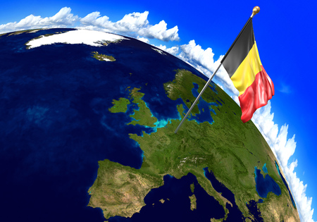 belgium flag: Belgium national flag marking the country location on world map. 3D rendering, parts of this image furnished by NASA