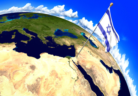 foreign land: Israel national flag marking the country location on world map. 3D rendering, parts of this image furnished by NASA