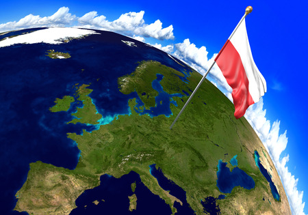 Poland national flag marking the country location on world map. 3D rendering, parts of this image furnished by NASA