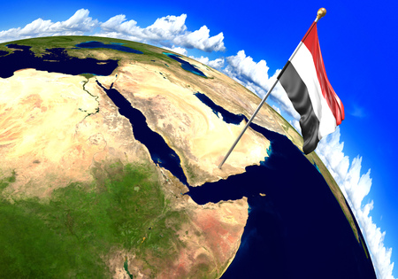 Yemen national flag marking the country location on world map. 3D rendering, parts of this image furnished by NASA