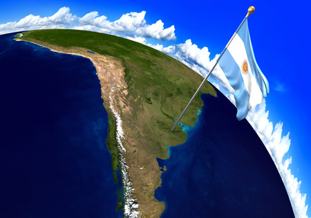 Argentina national flag marking the country location on world map. 3D rendering, parts of this image furnished by NASA