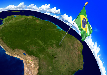 foreign national: Brazil national flag marking the country location on world map. 3D rendering, parts of this image furnished by NASA