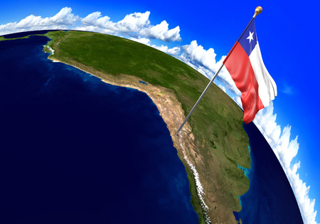 national geographic: Chile national flag marking the country location on world map. 3D rendering, parts of this image furnished by NASA