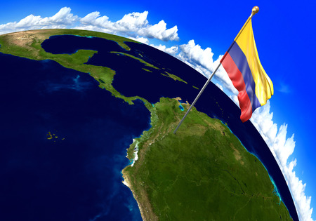 Colombia national flag marking the country location on world map. 3D rendering, parts of this image furnished by NASA