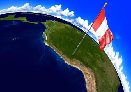 bandera de peru: que marca la ubicación del país en el mapa mundial de la bandera nacional de Perú. representación 3D, partes de esta imagen proporcionada por la NASA Foto de archivo
