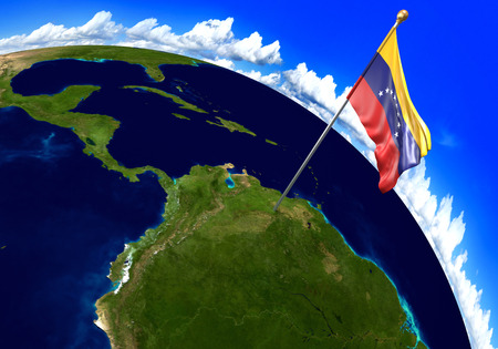 world flag: Venezuela national flag marking the country location on world map. 3D rendering, parts of this image furnished by NASA Stock Photo