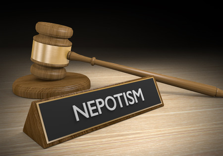 nepotism: Laws against nepotism or favoritism of friends and relatives for jobs and advantages, 3D rendering
