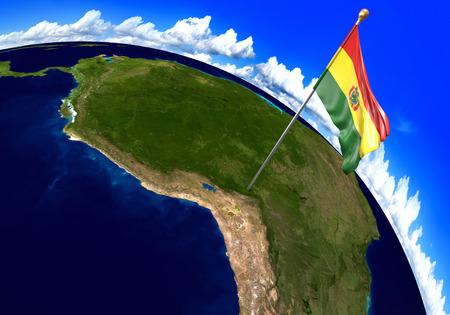 map bolivia: que marca la ubicación del país en el mapa mundial de la bandera nacional de Bolivia. representación 3D, partes de esta imagen proporcionada por la NASA Foto de archivo
